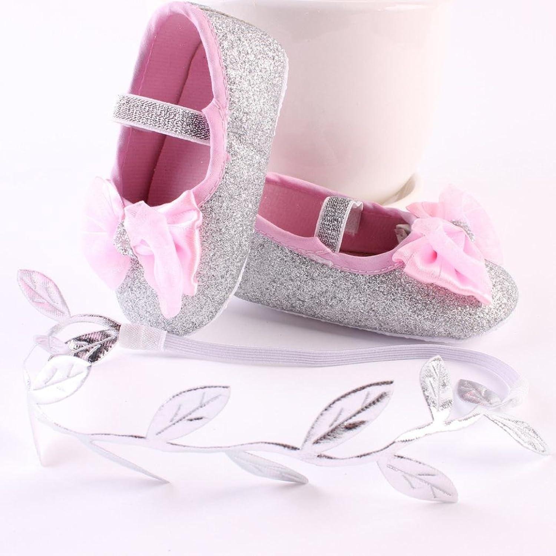 HCFKJBaby Girl Fiore Scarpe Sneaker Anti-Slip Hand Soft Scarpe Bambino + 1pc Cerchietto (12cm, Oro)