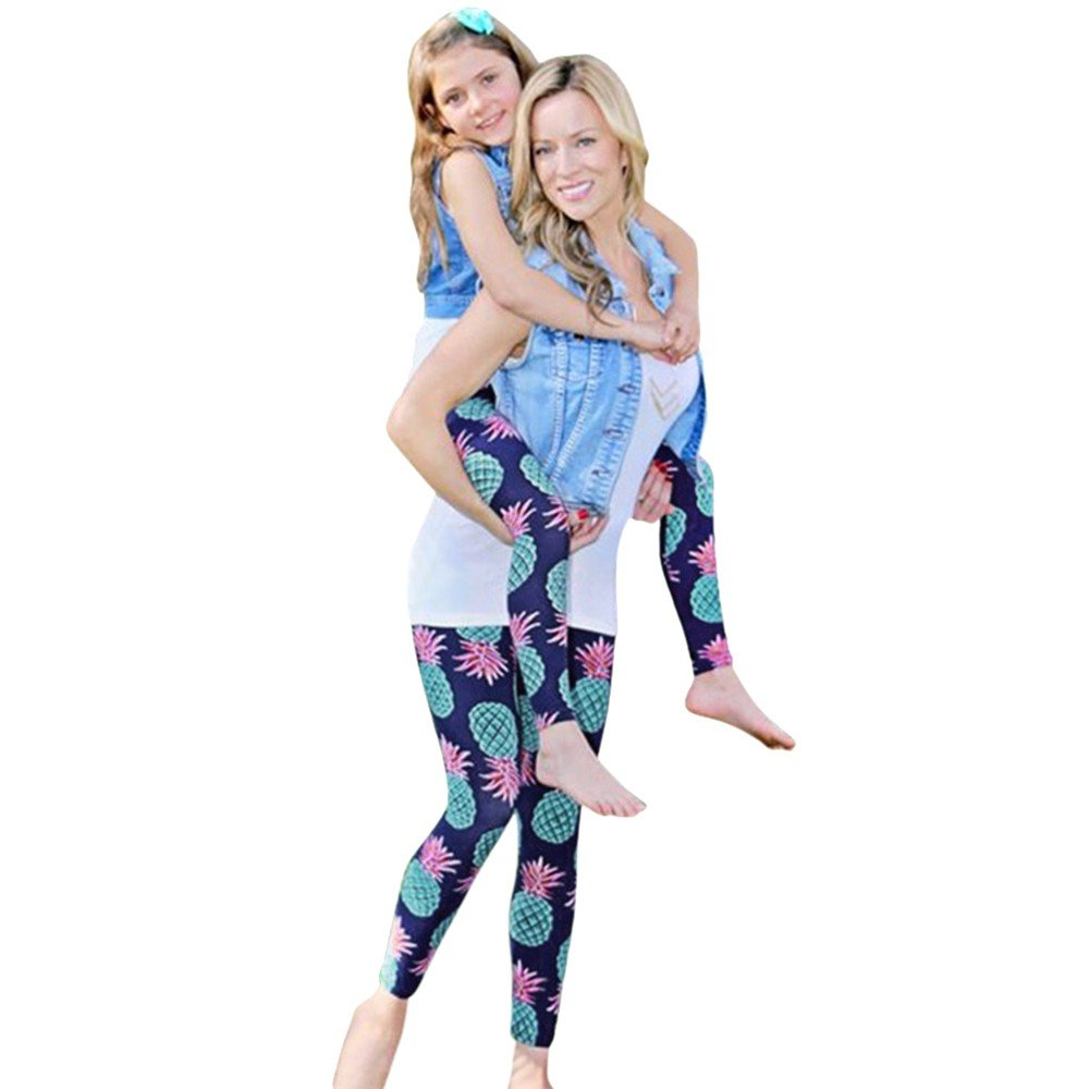 BOLUOYI Leggings for Women Capri Length White,Women's Running Clothing,Mom & Me Women's Lady's Fruit Print Pants Leggings Family Long Trousers,Blue,XL