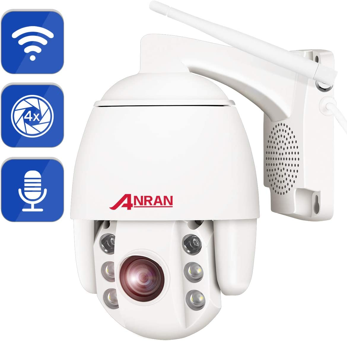 PTZ WiFi Security Camera Outdoor,1080P Home Surveillance Camera Wireless,ANRAN Pan Tilt 4X Optical Zoom Dome Camera