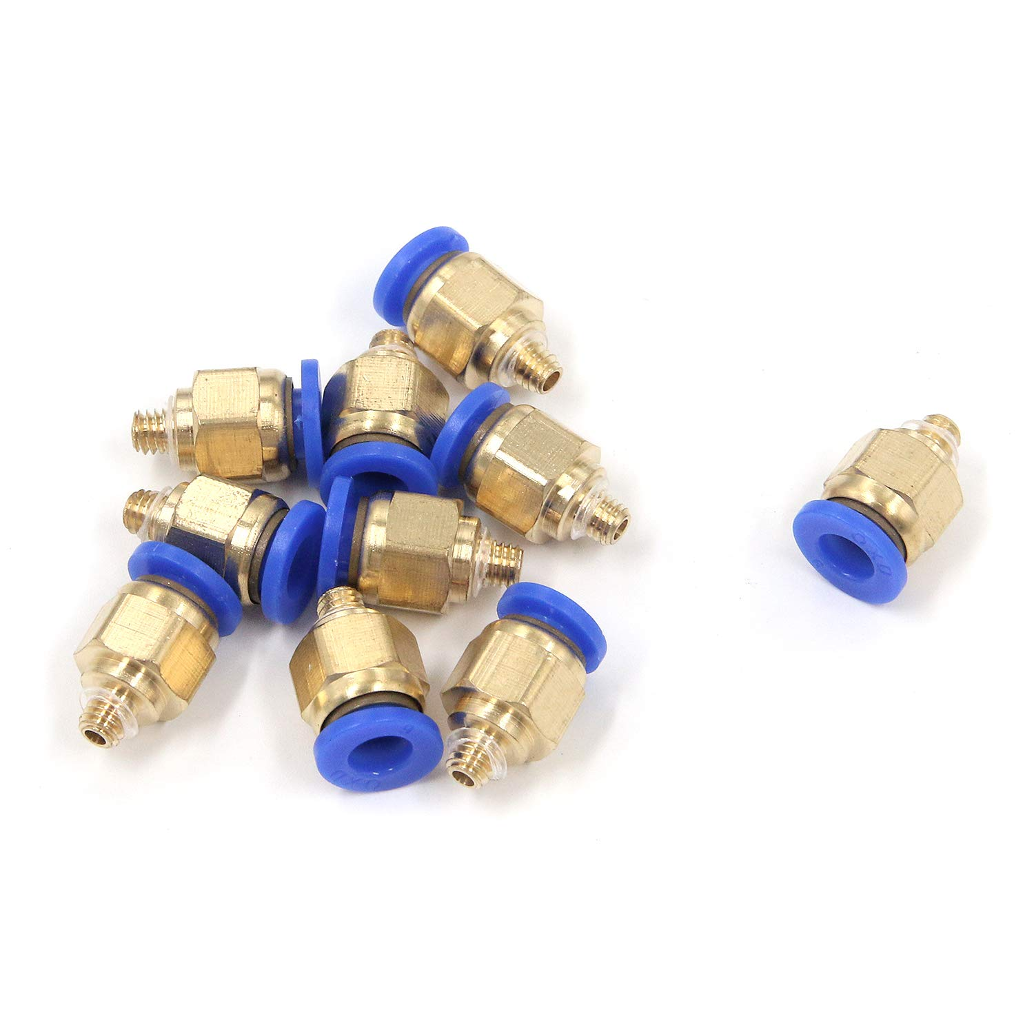FarBoat 10Pcs PC6 M5 Thread Male Pneumatic Push Quick Fitting Connectors Copper