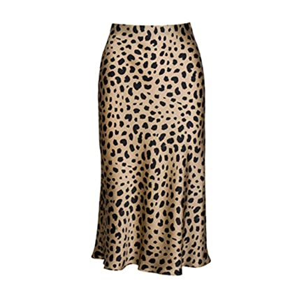 Pajamasea High Waist Leopard Midi Skirt Hidden Elasticized Waistband Silk Satin Skirts by Pajamasea