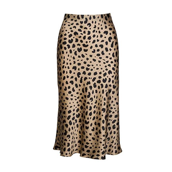 11c5aaa632 Pajamasea High Waist Leopard Midi Skirt Hidden Elasticized Waistband Silk Satin  Skirts at Amazon Women's Clothing store: