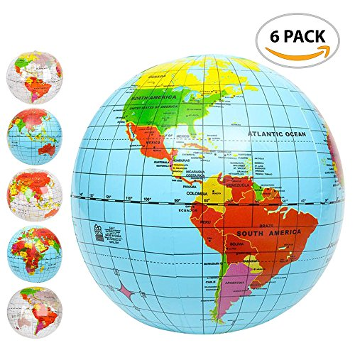 Inflatable World Globe Ball Set (Set of 6) by ArtCreativity, Print Blue and Clear | Colorful Earth Map, 16 Inflattable Beachball for Pool, Summer Fun Toys for Kids, Learning & More