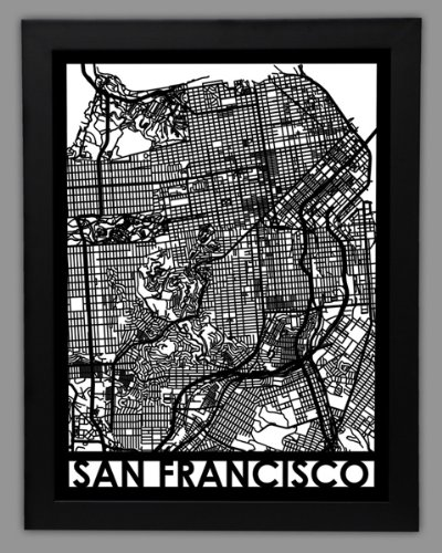 Amazoncom Large Framed City Map San Francisco Cut Maps Posters