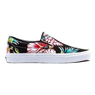 Vans Classic Slip-On Hawaiian Floral Black Skateboarding Shoe (Men 4/ Women  5.5