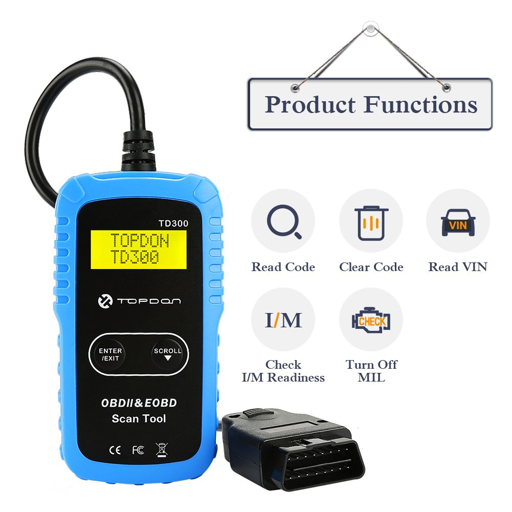 TT TOPDON TD300 OBD2 Scanner Code Reader with Engine Light Turn-Off, I/M  Readiness Check, 7000 DTC Definitions