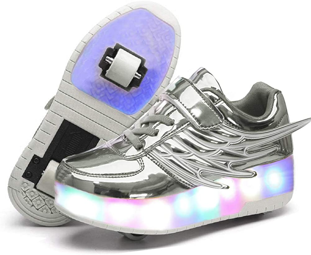 Nsasy Roller Shoes Kids Roller Skates Shoes Girls Boys Wheels Shoes Become Sport Sneaker with Led for Children Gift