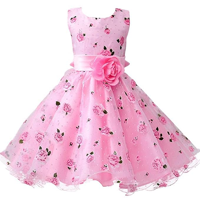 a01af4c6389b1 Berngi Baby Girls Birthday Dresses Floral Flower Wedding Princess Party  Pageant Formal Dress Kids Cotton Evening Gowns