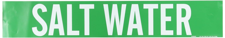 4 Height X 24 Width Legend Salt Water White On Green Pressure Sensitive Vinyl B-946 Brady 7248-1Hv Self-Sticking Vinyl Pipe Marker