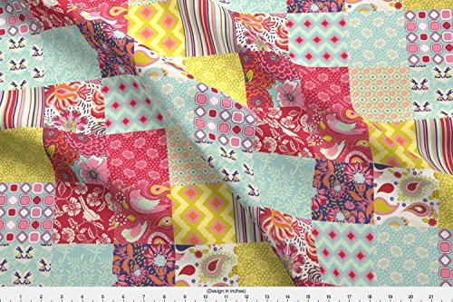 (Spoonflower Cheater Quilt Fabric - Spring Cheater Quilt Fabric Patchwork Squares by shellypenko - Cheater Quilt Fabric Printed on Basic Cotton Ultra Fabric by The Yard)