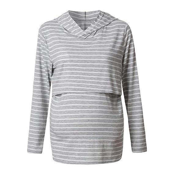 26adf7129 Bold N Elegant Striped Grey Maternity T-Shirt Tee Nursing Top with Hood Breastfeeding  Pregnancy