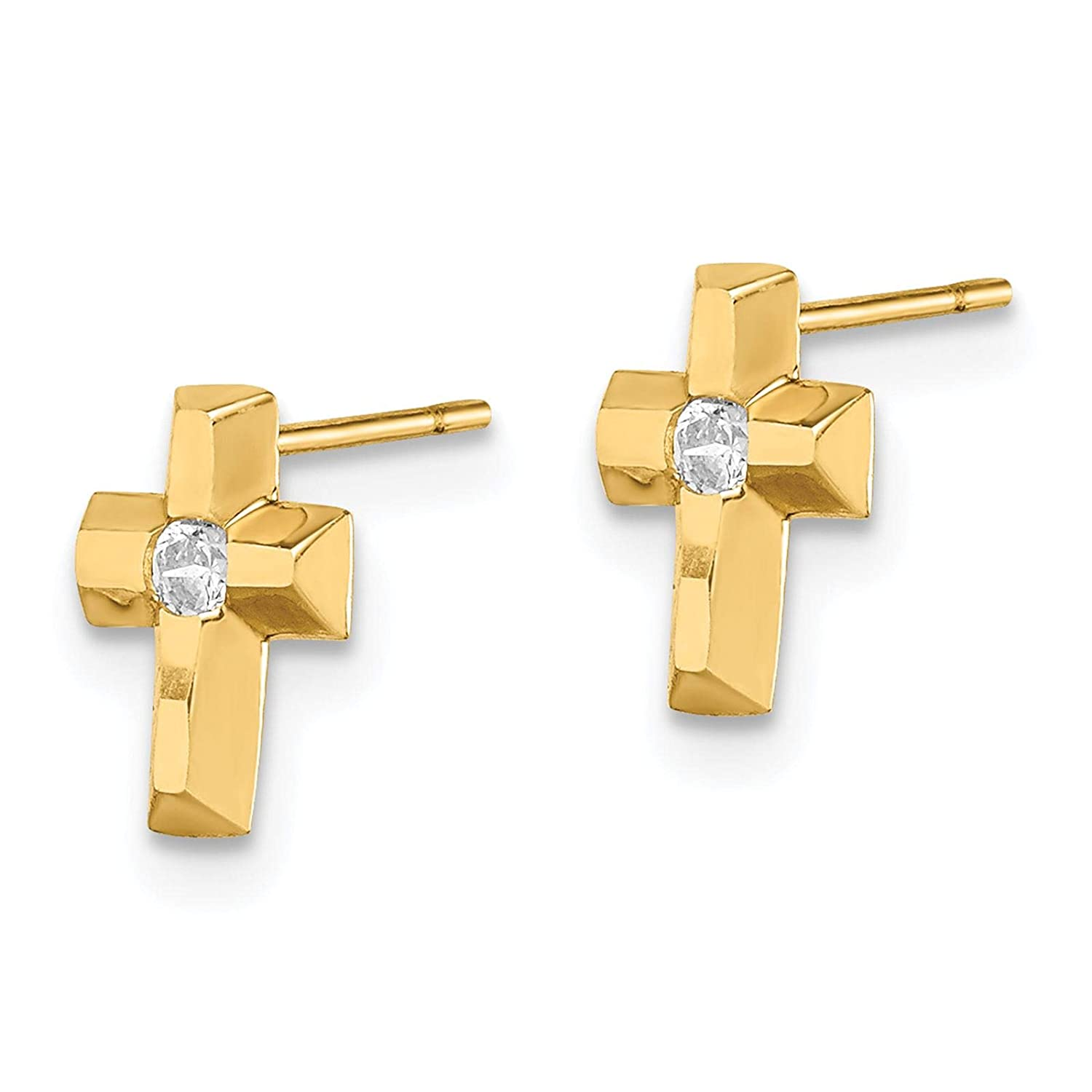 14k Yellow Gold Polished Cross w//CZ Post Earrings by Madi K