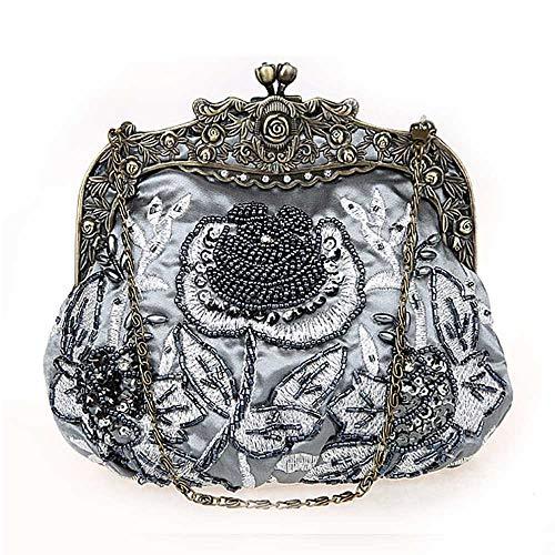 Gris couleur À Mariée Soirée Perles Dîner Sac Vintage Pour Robe Femme Argent De Uiophjkl Main Embrayage qRnwZBO4