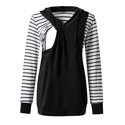 8e3f35add8944 Nacome Maternity Hoodie,Long Sleeve Nursing Hoodie Tops Breastfeeding  Sweatshirts Small Black: Amazon.in: Home & Kitchen