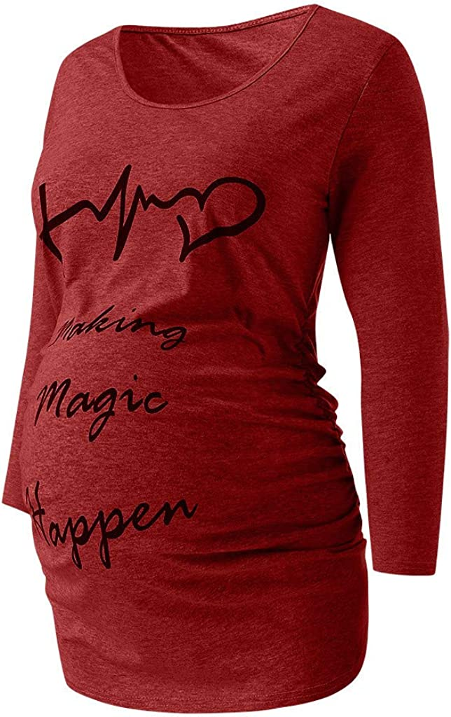 Maternity Christmas Clothes,Women Maternity Tunic Long Sleeve Shirts Side Ruched Pregnancy T-Shirt Tops