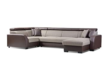 grand canap dangle panoramique convertibles 67 places tissu simili cuir cobby - Canape D Angle Simili Cuir Marron