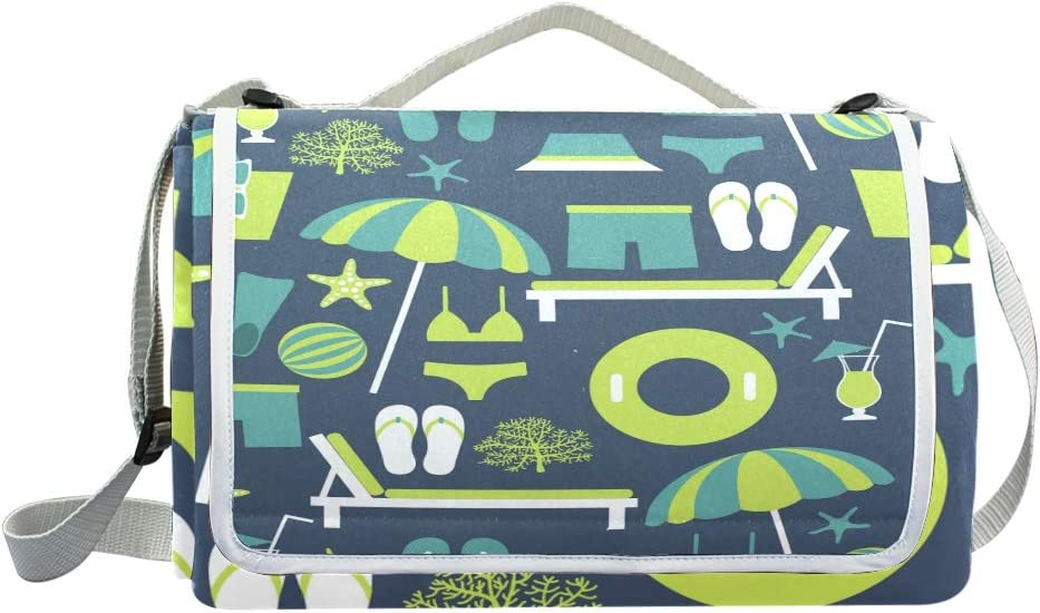 XINGAKA Coperta da Picnic Tappetino Campeggio,Carta da Parati Botanica del Modello Senza Cuciture di Vettore di Estate,Giardino Spiaggia Impermeabile Anti Sabbia 7