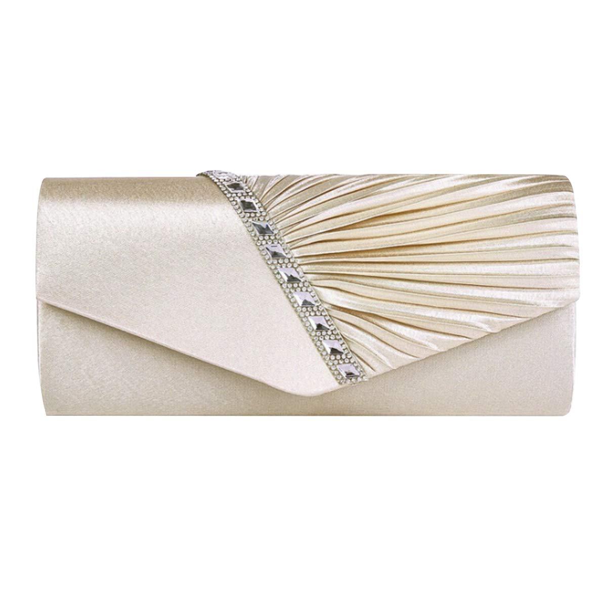 AiSi Damen Satin Clutch Strass Abendtasche mit Kette mini Handtasche für Hochzeit, Silber Rot Beige bb-03034W03