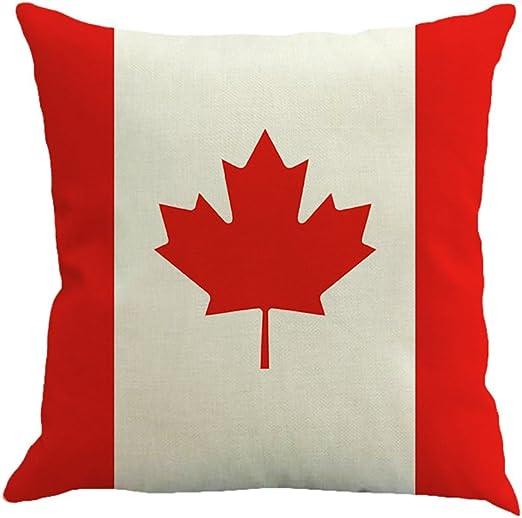 Decorativa almohada Bandera de impresión Impreso Sofá Decoración Cojín Caso agarre Bar Funda de almohada cojín de móvil Salón rojo/blanco (Canadá): Amazon.es: Hogar