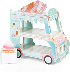 Van Cake Stand, Ice Cream Truck Decorations - Ice Cream Baby Shower/Birthday Party Supplies Table Centerpiece Decor Ice Cream Cart Cake Cupcake Stand(3 Tier)