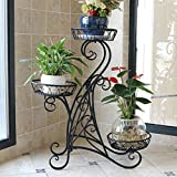 WSSF- Iron Balcony Flower Rack Multi-Layer Floor European Indoor Living Room Green Hanging Orchid Bonsai Stand Potted Plants Shelf Color Optional,68*25*75cm (Color : Black)