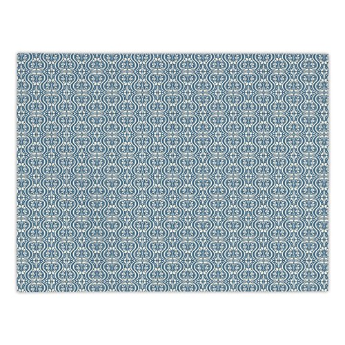 Polyester Rectangular Tablecloth,Damask,Symmetrical Ancient Flowers and Curls Wavy Lines Old Ornamental Curves Tile,Slate Blue Ivory,Dining Room Kitchen Picnic Table Cloth Cover,for Outdoor Indoor