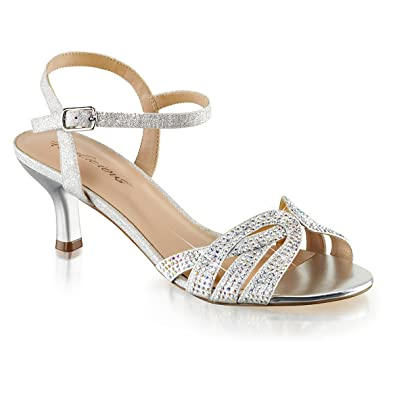 d8204630b1ef5 Womens Kitten Heel Shoes Sparkly Silver Ankle Strap Sandals Rhinestone 2  1/2 In Size
