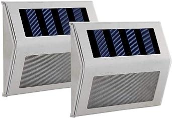 1989candy 6 LED luz solar para escalera al aire libre impermeable para jardín camino calle lámpara: Amazon.es: Iluminación