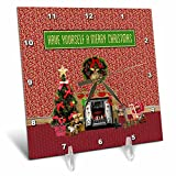 3dRose Beverly Turner Christmas Design - Christmas Room, Fireplace, Tree, Toys, Have Yourself a Merry Christmas - 6x6 Desk Clock (dc_267908_1)