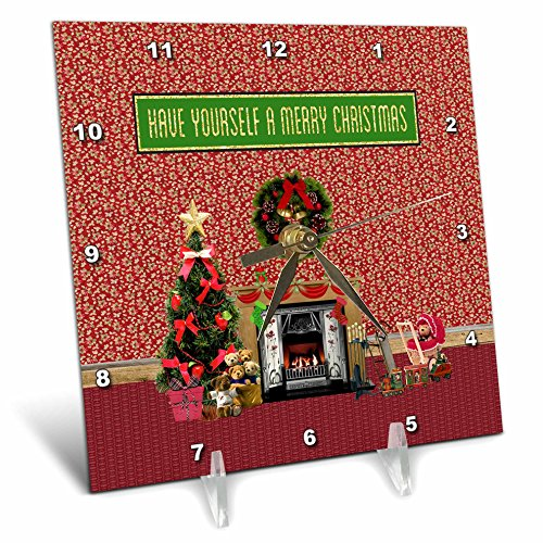 3dRose Beverly Turner Christmas Design - Christmas Room, Fireplace, Tree, Toys, Have Yourself a Merry Christmas - 6x6 Desk Clock (dc_267908_1) by 3dRose