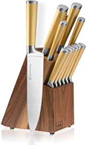 Gold Knife Set with Walnut Knife Block, 12-piece Kitchen Knives Stainless Steel Gold Knives Set, Full Tang, Knives Gold - Gold Kitchen Accessories