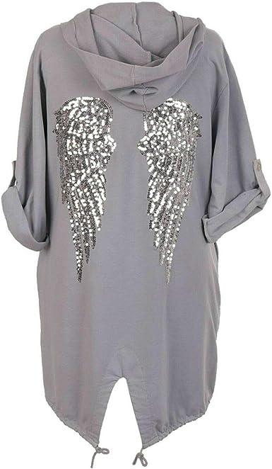 Ladies Sequin Angel Wings Back Baggy Oversized Hoodie Sweatshirt Cardigan Jacket