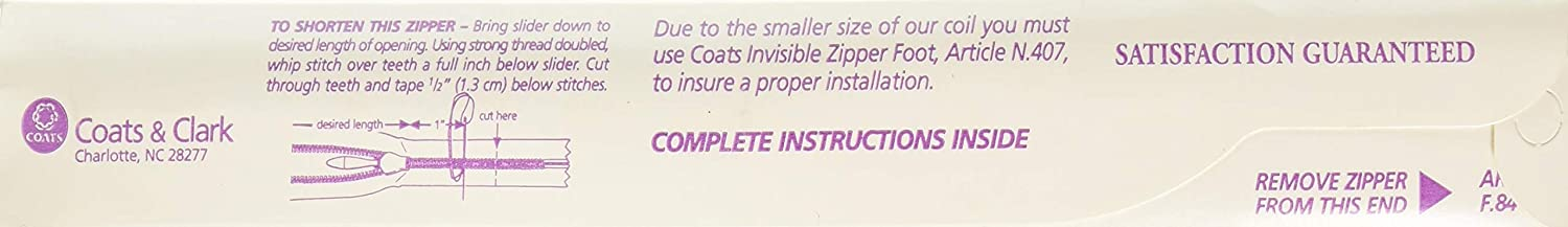 7-Inch to 9-Inch Coats Thread /& Zippers Invisible Zipper Black
