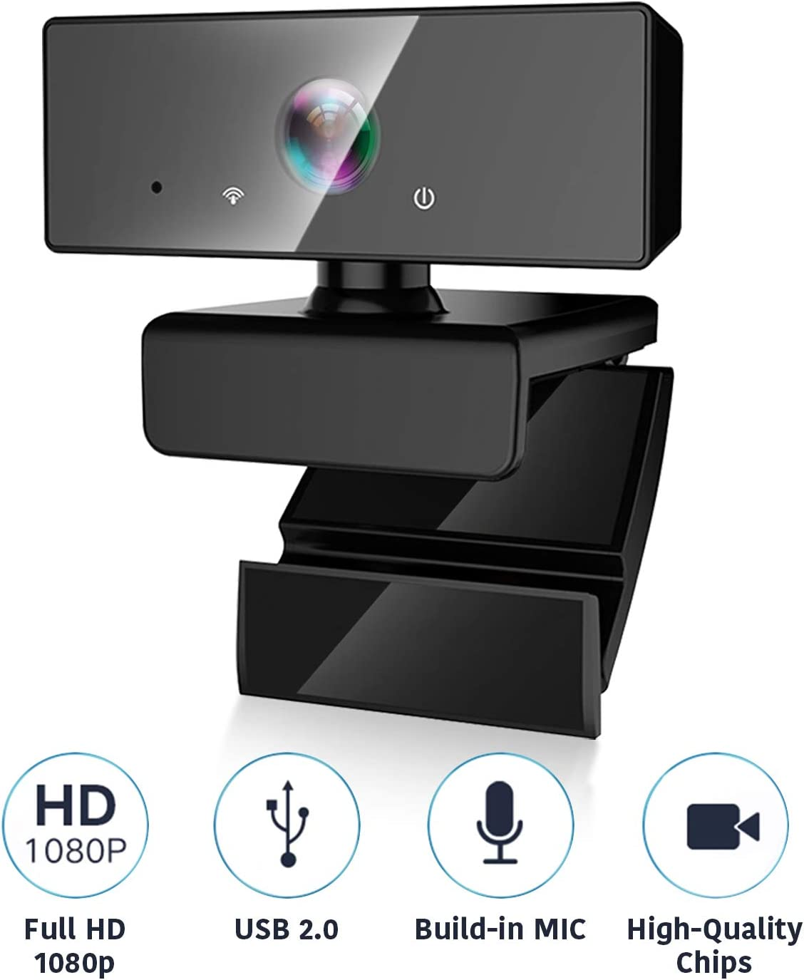 1080P HD Plug and Play Webcam with Microphone, 110° Wide Angle Computer Mac Laptop Desktop Web Camera, Online USB PC Webcams for Video Calling Recording, Zoom Meeting, Skype or Game Live Streaming