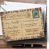 Shabby Chic Vintage Postcard Rustic Blue Stamp Personalized Evening Reception...