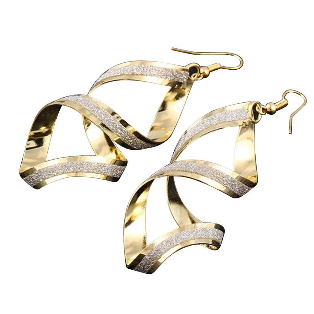 Clearance! Elogoog Jewelry 1Pair Fashion Women Matte Cross Dangle Gold Loop Earings (Gold)