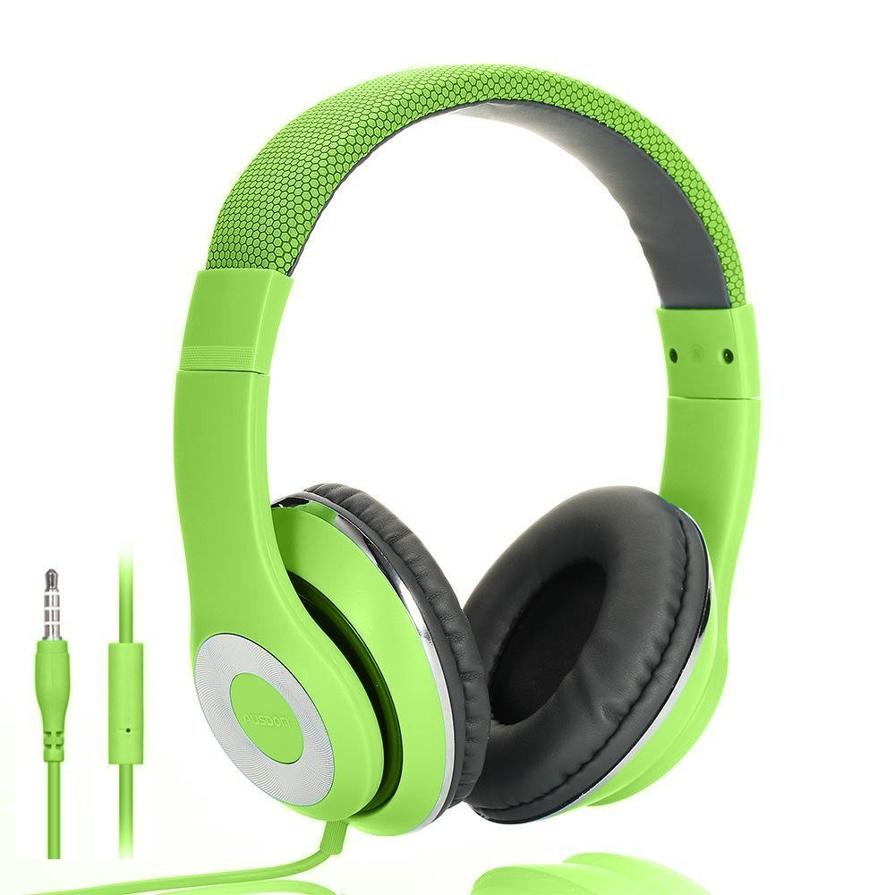 AUSDOM Lightweight Over-Ear Wired HiFi Stereo Headphones with Built-in Mic Comfortable Leather Earphones Noise Isolating Adjustable Deep Bass for iPhone iPod iPad Macbook MP3 Smartphones Laptop- Green by Ausdom