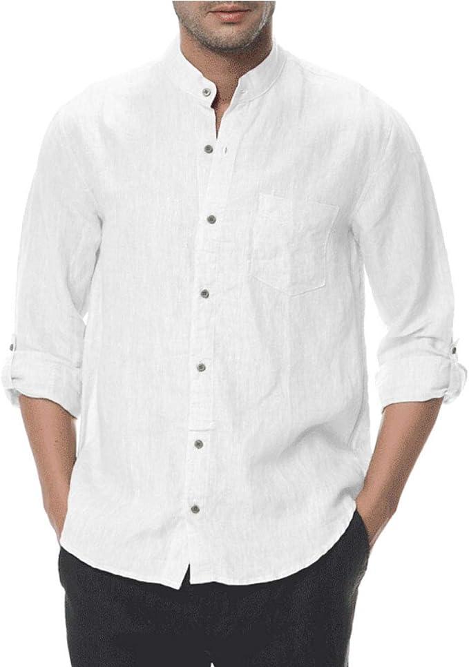 Hombres 100% Lino Manga Larga Cuello mandarín Abotonar Blanco Camisa (L): Amazon.es: Ropa y accesorios