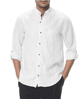 fdd41c72c7bb4 Hombres 100% Lino Manga Larga Cuello mandarín Abotonar Blanco Camisa ...