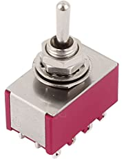 Uxcell a15062200ux0865 AC 250V/120V 2A/5A 4PDT ON/Off/ON 3 Positions 12 Pin Toggle Switch Red