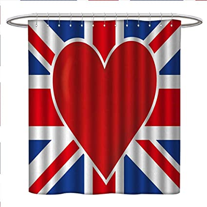 Anniutwo Union Jack Shower Curtains Fabric British Flag With A Big Red Heart In Center Nationality
