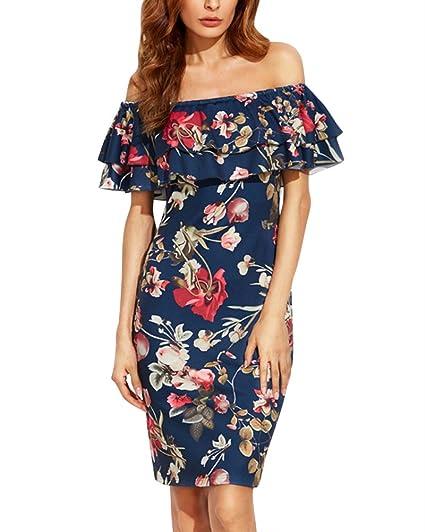 Mujer Elegante Impresión Vestidos De Shoulder Off Vestido ...