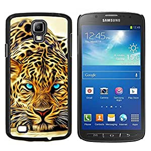 Tatuaje Leopard África del gato de la naturaleza animal- Metal de aluminio y de plástico duro Caja del teléfono - Negro - Samsung i9295 Galaxy S4 Active / i537 (NOT S4)