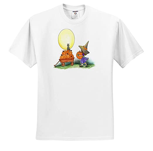 ts/_317116 Witch Collecting Pumpkins in a cart Under The Moon Adult T-Shirt XL Halloween 3dRose Amanda Leverman