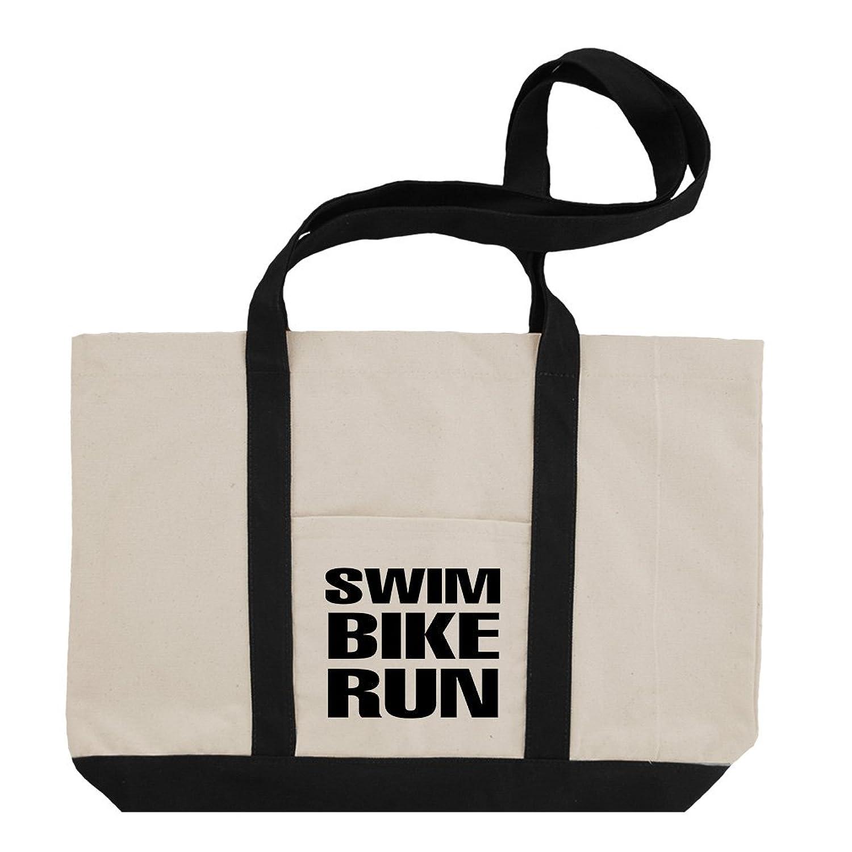 Swim Bike Run Cotton Canvas Boat Tote Bag Tote