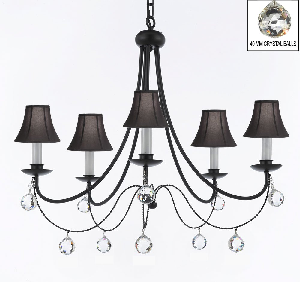 Empress Crystal Tm Wrought Iron Chandelier With Black