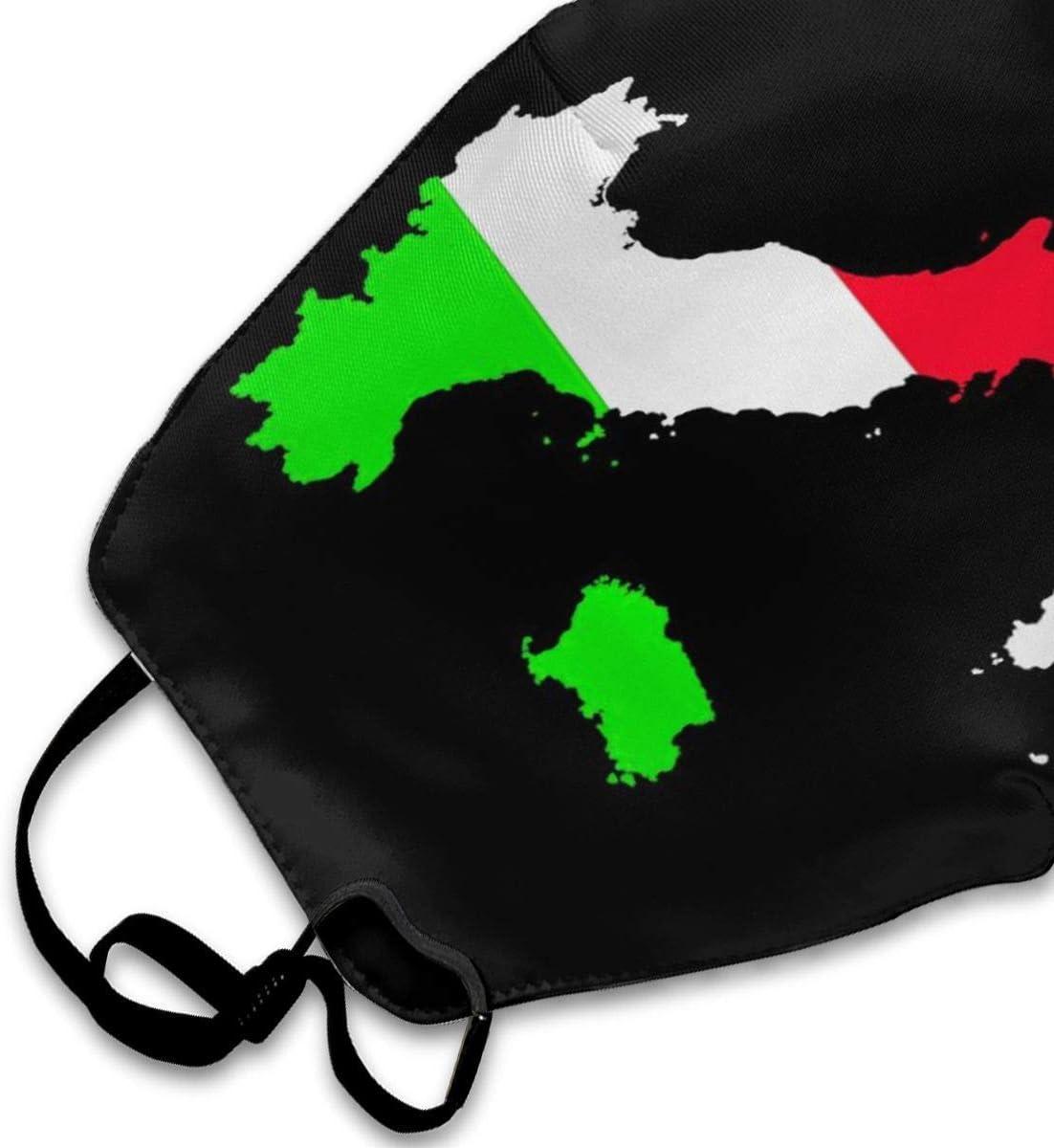 Italien Flagge,halbe Gesichtsbedeckung,Winddichte Gesichtsdekorationen,Verstellbarer Ohrb/ügel,Mundh/ülle,staubdichter Mundschutz