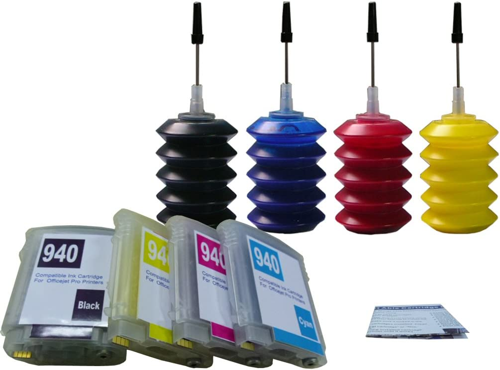 ND Brand Dinsink: 4 Pack US Patent HP 940 940XL Refillable Ink Cartridges with Chips + 4x30ml Premium Pigment Refill Ink kit for HP OfficeJet Pro 8000 8500 8500a Printer. The Item with ND Logo!