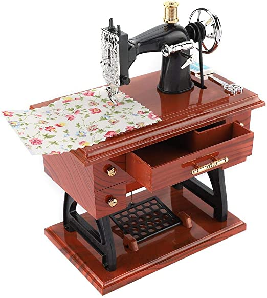 Fditt Caja de música Vintage Mini máquina de Coser Estilo Caja de música mecánica Musical Retro Decoración de Escritorio clásica Regalo para cumpleaños San Valentín Boda de Navidad: Amazon.es: Hogar