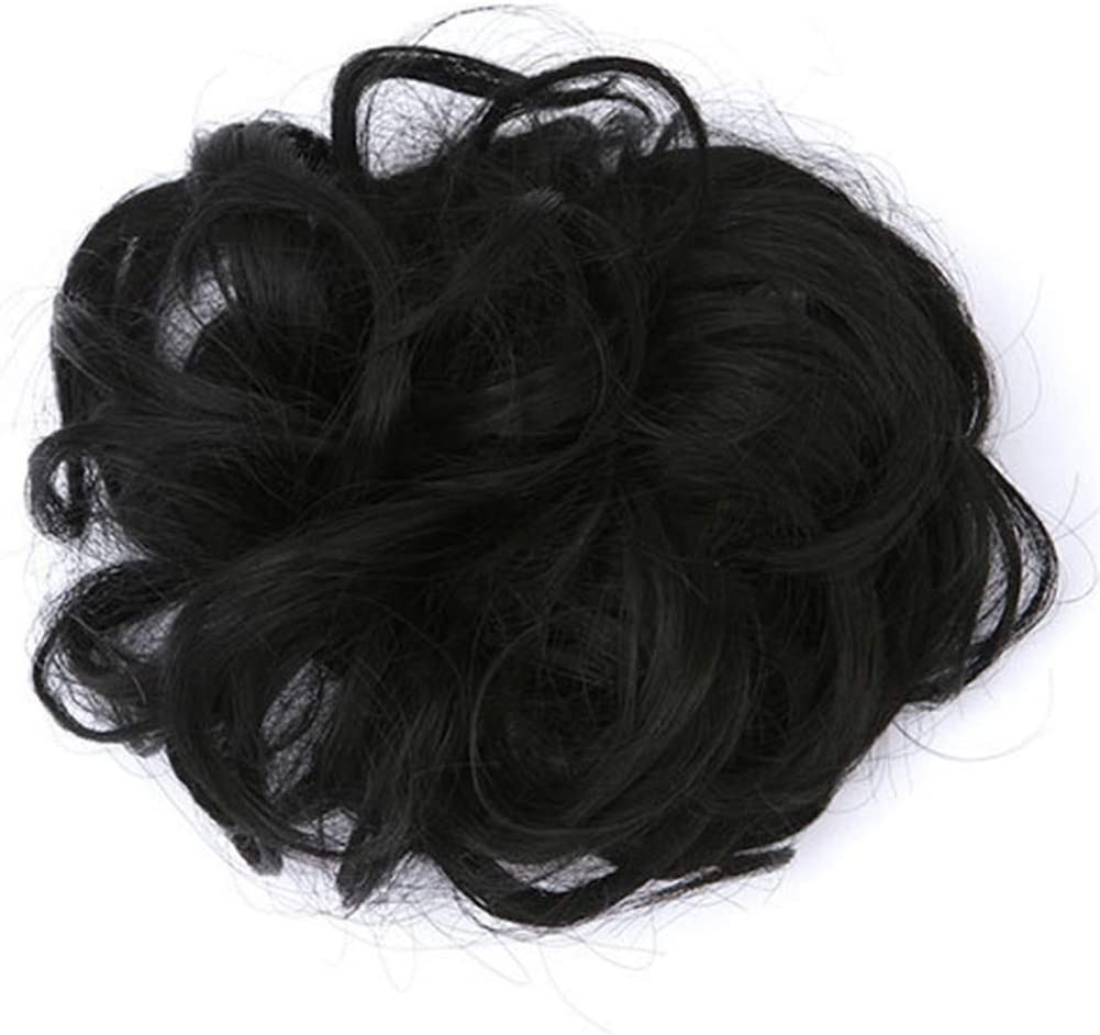 XGao Messy Bun Hair Piece 5A Hair Pieces for Women Easy to Wear Stylish Scrunchy Wavy Straight Bun Messy Donut Elastic Chignons Synthetic Hairpiece Black Brown Blonde Extension
